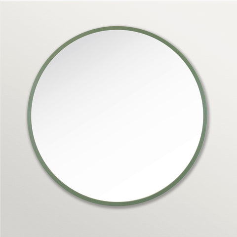 Sage Green Rubber Framed Round Mirror on Grey Wall