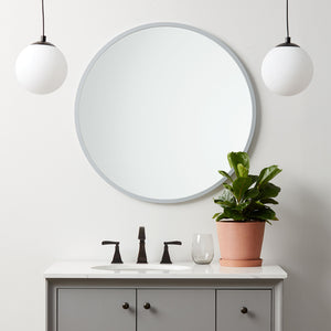 Grey Rubber Framed Round Mirror