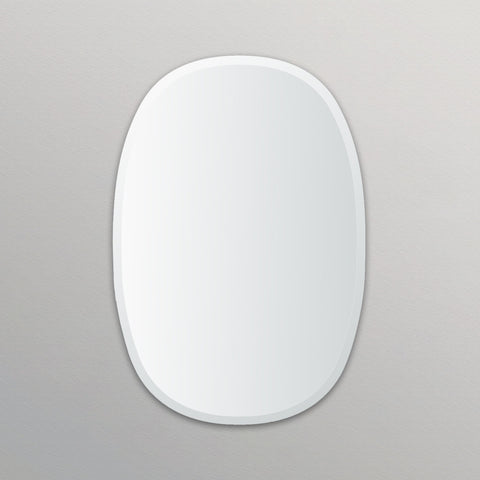 Frameless Beveled Oblong Oval Mirror