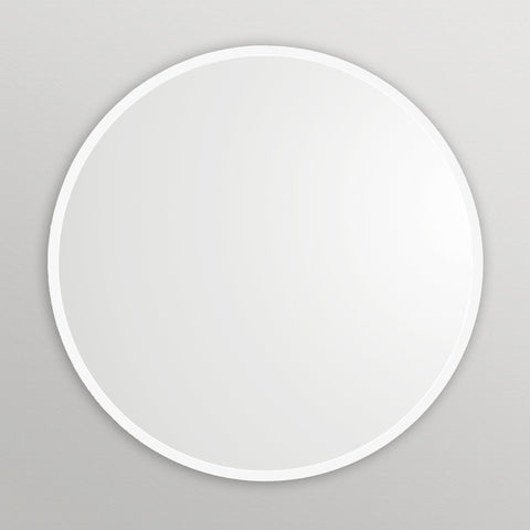 White Rubber Framed Round Mirror