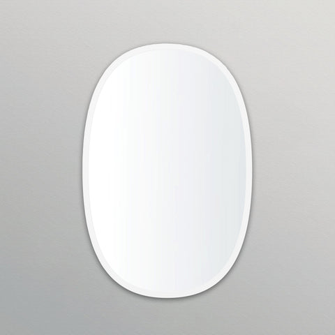 White Rubber Framed Oblong Oval Mirror