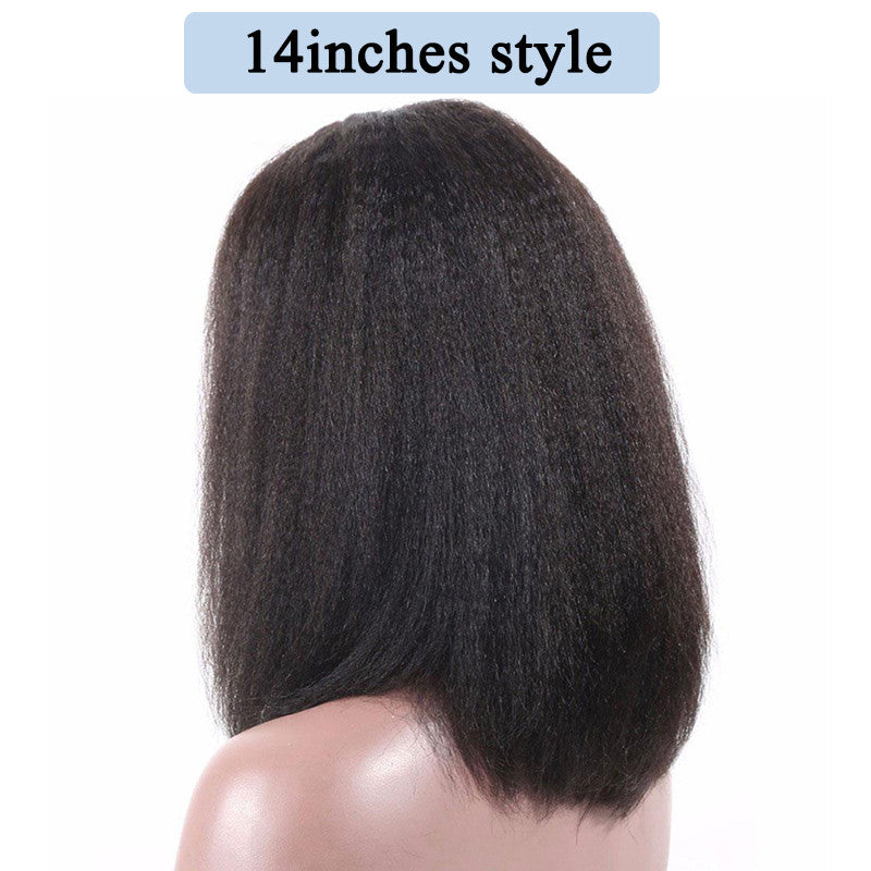 13x6 Short Bob Yaki Straight Lace Front Human Hair Wigs Colored Brazilian Lace Frontal Bob Wigs