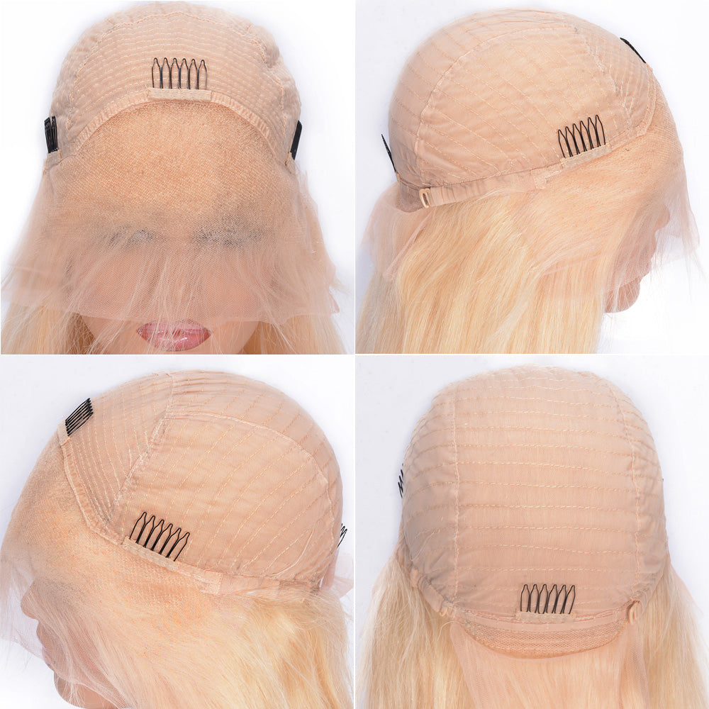 Deep Wave 100 Percent Brazilian Virgin Human Hair Lace Front Wigs With Natural Free Part