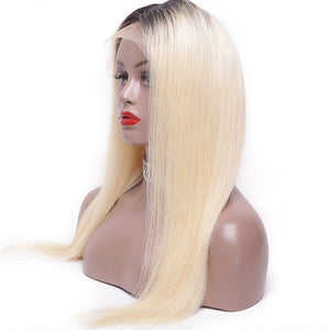 Rooted-1B613-Long- Blonde-Bob-Lace-Front-Human-Hair-Wigs