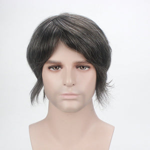 French Lace Mens Grey Colored Toupee Hairpiece Bleached Knot Indian Remy Hair Wigs
