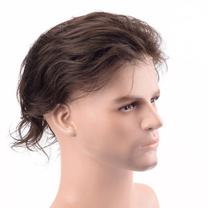 Human Hair Toupee for men Gents hairpiece Full Lace Hair Replacement man