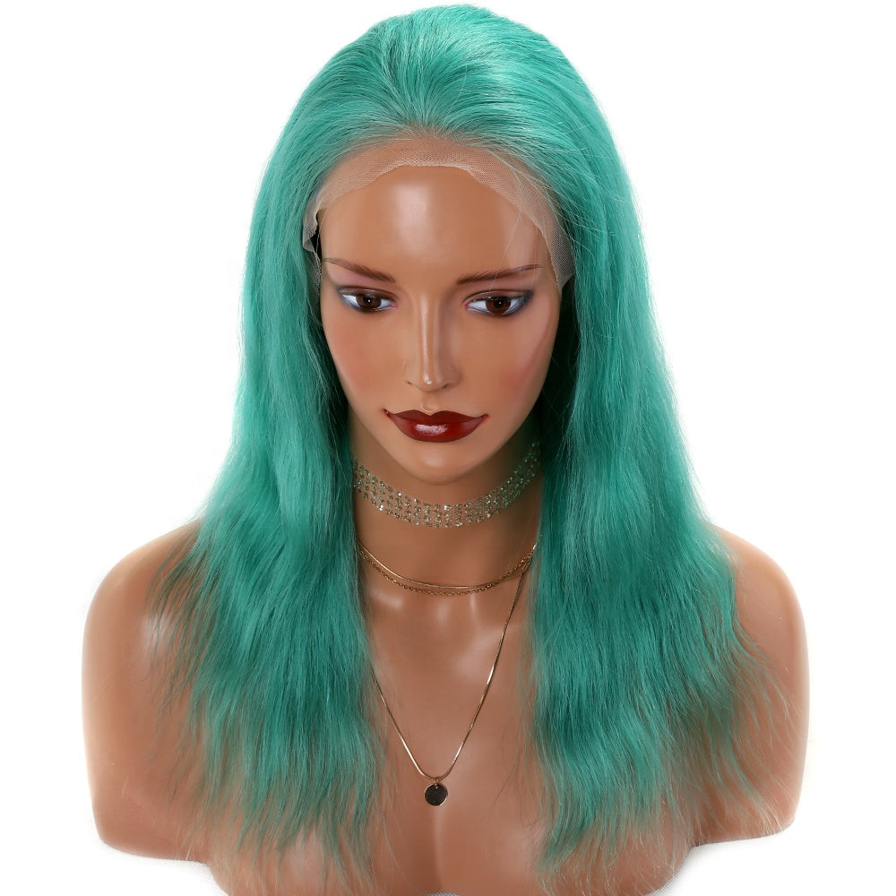 Bluish-Green-Colored-Lace-Front-Human-Hair-Wigs