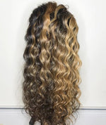 Brown Highlighted Lace Front Wigs Raw Virgin Cambodian Curly Hair Ombre Balayage Lace Front Wig