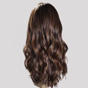 Brown-Highlights-Virgin-European-Human Hair-Wigs-Silk-Top-Jewish-Wigs
