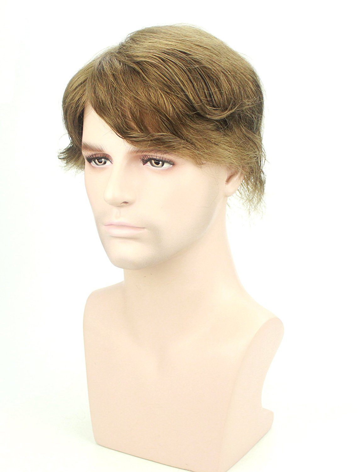 #7 Light Brown Top Quality Handsome Short Wavy Mens Wigs Human Hair Toupee