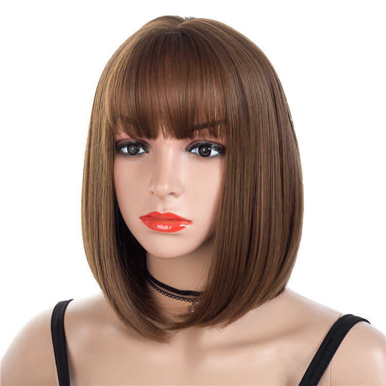 Bob-Cut-Chocolate-Brown-Straight-Synthetic-Wigs-Capless-Wigs-12inch