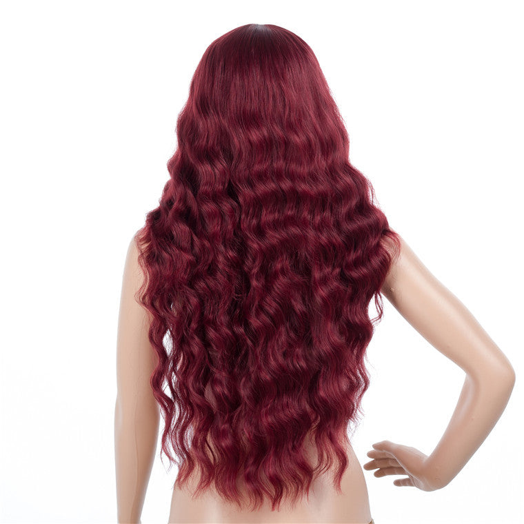 Super Long Wavy Synthetic Capless Wigs Purple Plum Colored Wigs