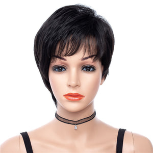 Short Pixie Cut Wavy Synthetic Capless Wigs Natural Black