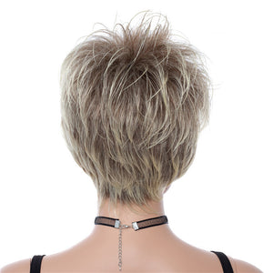 Super Short Blonde Rooted Soft Layered Straight Capless Synthetic Women Wigs