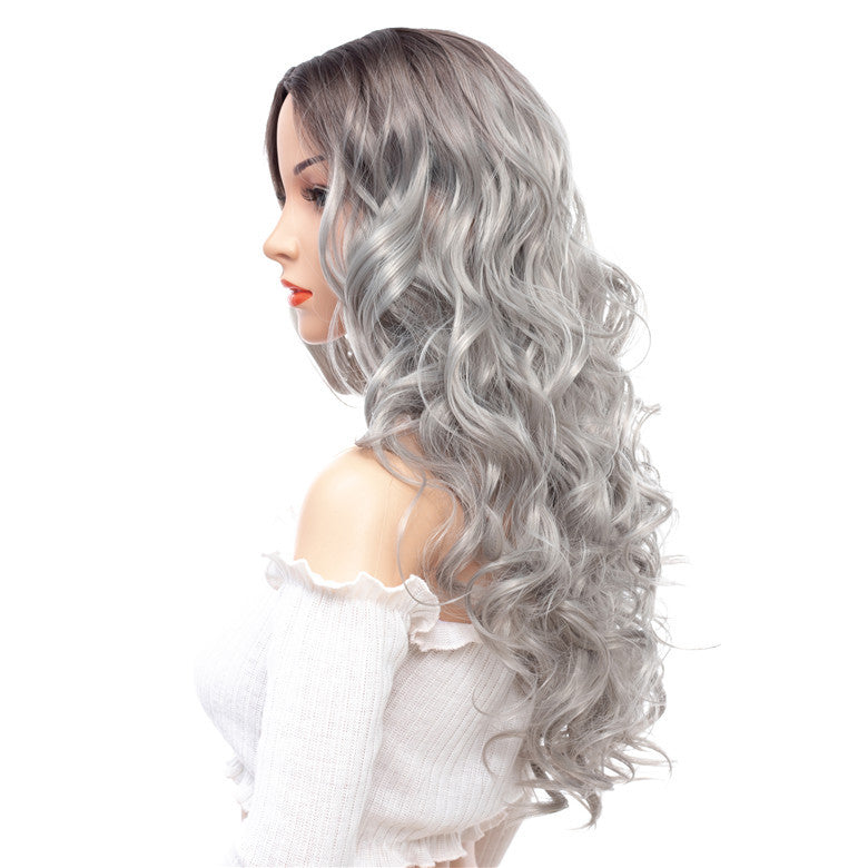 Super-Long-Wavy-Capless-Synthetic-Wigs-Gray-White-Rooted-Ombre-For-Sal