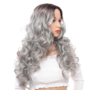 Super-Long-Wavy-Capless-Synthetic-Wigs-Gray-White-Rooted