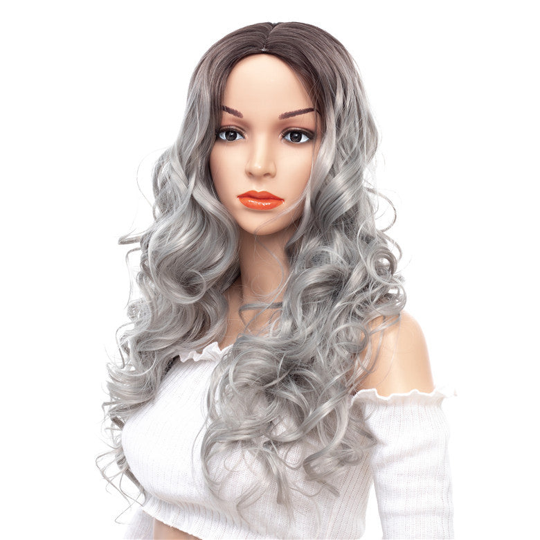 Super-Long-Wavy-Capless-Synthetic-Wigs-Gray-White-Rooted-Ombre