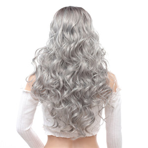 Long-Wavy-Capless-Synthetic-Wigs-Gray-White-Rooted