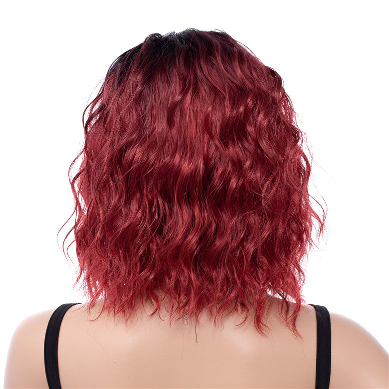 Red Ombre Dark Rooted Synthetic Short Medium Wavy Wigs Capless For Sale