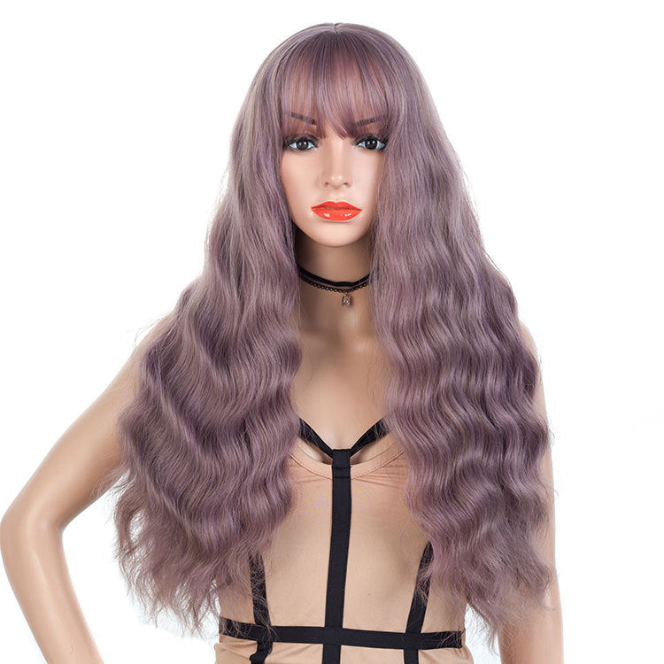 Light-Pastel-Purple-Gray-Long-Wavy-Synthetic-Hair-Wigs-For-Black-Women-Capless-26inch