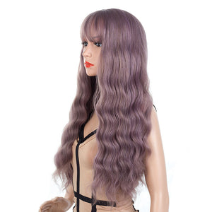 Light-Pastel-Purple-Gray-Long-Wavy-Synthetic-Hair-Wigs-For-Black-Women-Capless