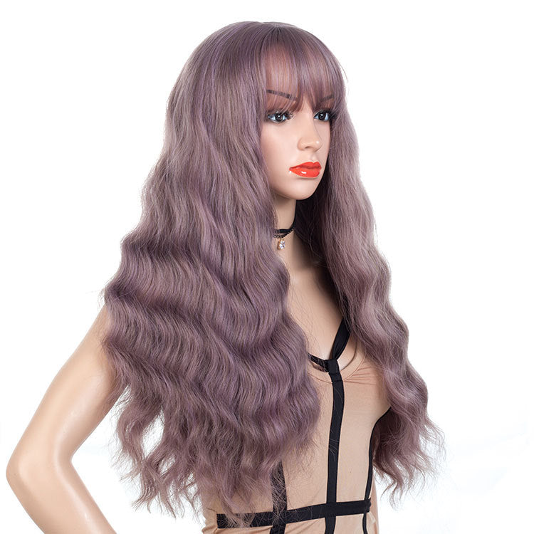 Light-Purple-Gray-Long-Wavy-Synthetic-Hair-Wigs-For-Black-Women-Capless-26inch