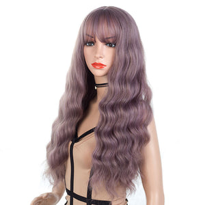 Purple-Gray-Long-Wavy-Synthetic-Hair-Wigs-For-Black-Women-Capless-26inc