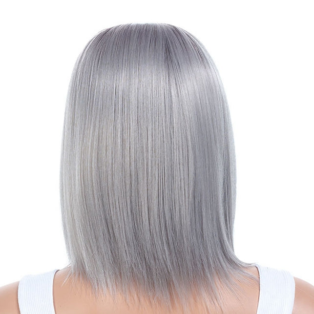New Arrival Purple Gray Medium Bob Cut Straight Capless Synthetic Wig