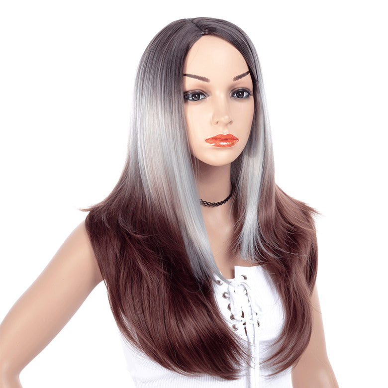 Gray-Ombre-Dark-Rooted-Long-Straight-Layered-Synthetic-Hair-Wigs-For-Black-Women