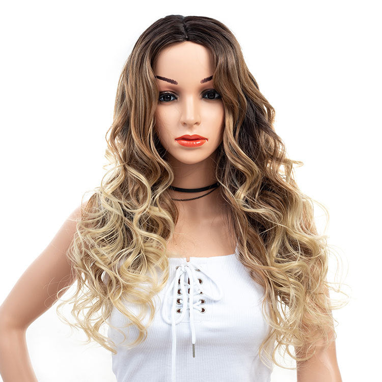 3-Tones-Brown-Blonde-Ombre-Rooted-Long-Synthetic Hair Wigs Wavy Curly