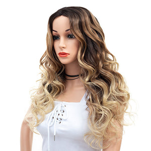 3-Tones-Brown-Blonde-Ombre-Rooted-Long-Synthetic-Hair-Wigs