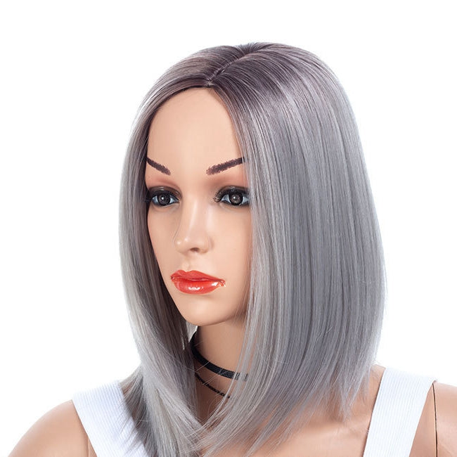 Purple-Gray-Medium-Bob-Cut-Straight-Capless-Synthetic-Wig