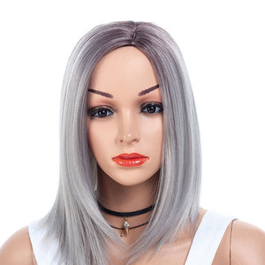 Gray-Medium-Bob-Cut-Straight-Capless-Synthetic-Wig