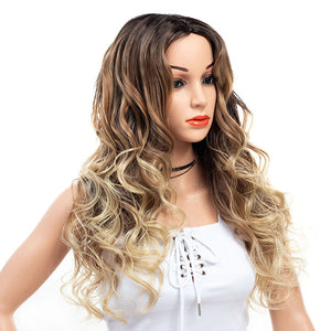 Three-Tones-Brown-Blonde-Ombre-Rooted-Long-Synthetic-Hair-Wigs