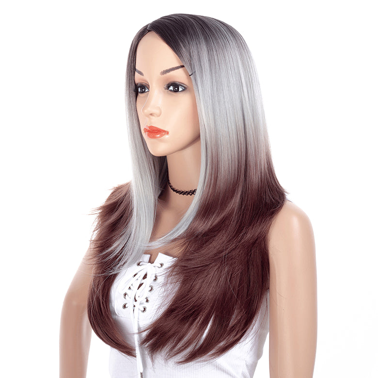 Gray-Ombre-Rooted-Long-Straight-Layered-Synthetic-Hair-Wigs-For-Black-Women