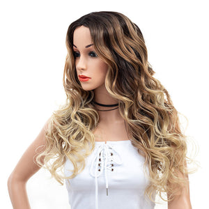 Cheap-3-Tones-Brown-Blonde-Ombre-Rooted-Long-Synthetic-Hair-Wigs