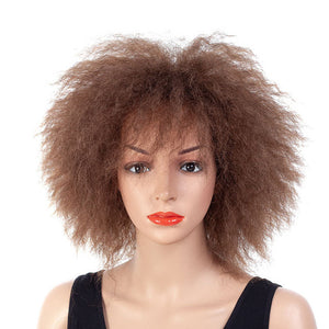Sexy-Short-Medium-Big-Afro-Curly-Hair-Black-Brown-Synthetic-Hair-Wig