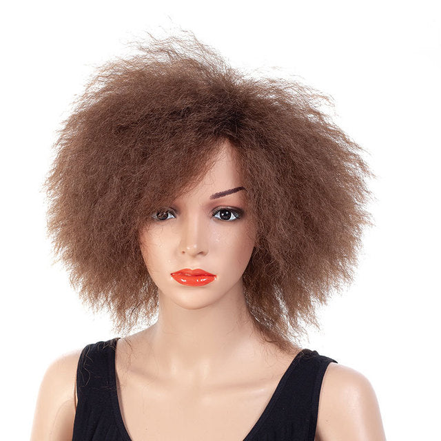 Short-Medium-Big-Afro-Curly-Hair-Black-Brown-Synthetic-Hair-Wig
