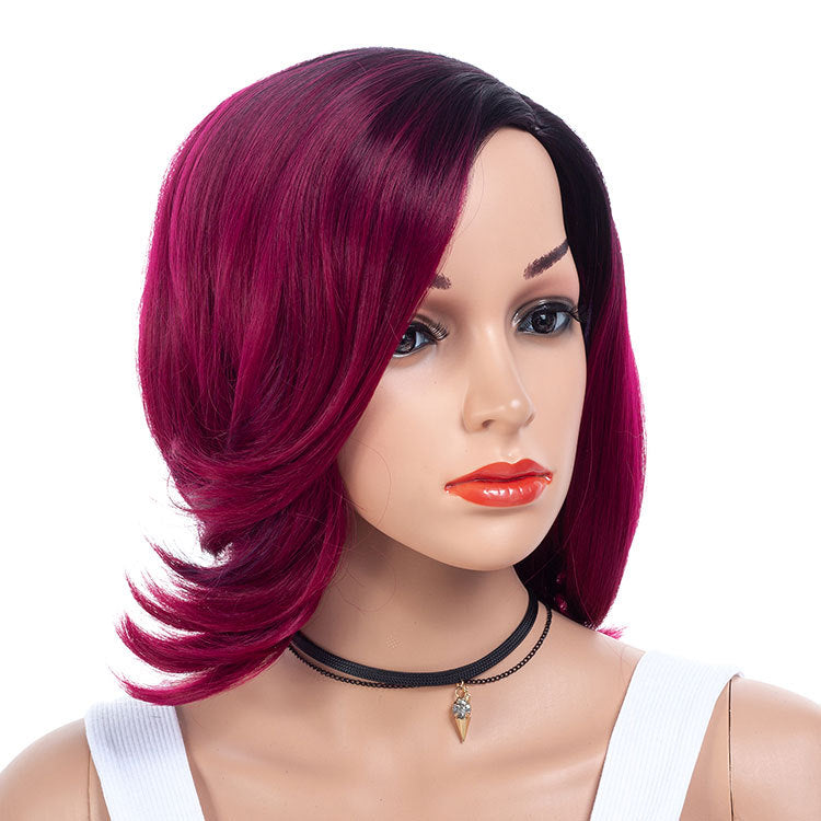 Purple-Plum-Wigs-With-Dark-Rooted-Synthetic-Hair-Medium-Bob-Wigs