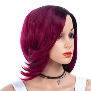 Purple-Plum-Synthetic-Hair-Medium-Bob-Wigs-For-Black-Women