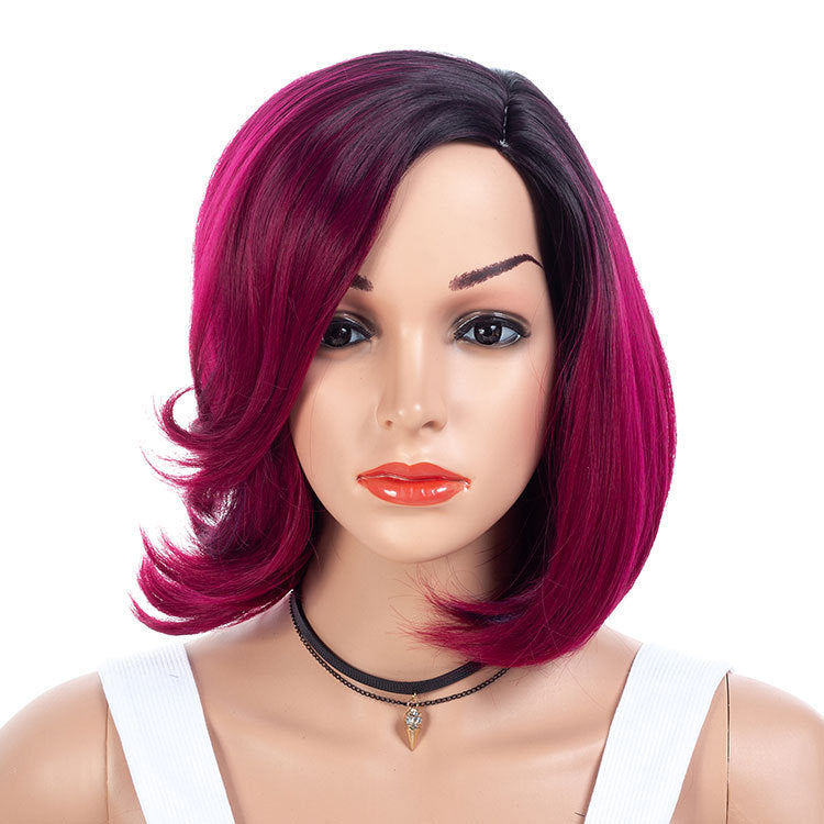 Purple-Plum-Medium-Bob-Wigs-For-Black-Women