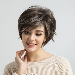 Light-Brown-Highlights-Synthetic-Wigs-For-Black/White-Women-Fluffy-Natural-Wave-African-American-Short-Wig