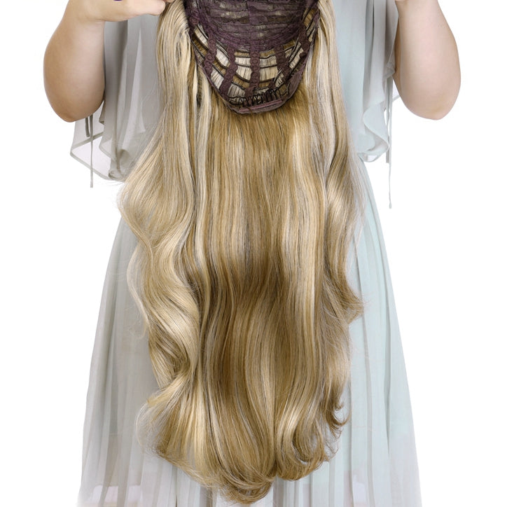 "24""-Wavy-3/4-Ladies-Half-Wig-Synthetic-Hair-Wigs-with-Clips-in-Hair-Extensions"
