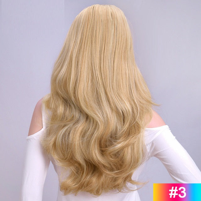 Long-Wavy-3/4-Women-Half-Wig-Synthetic-Hair-Wigs-Blonde