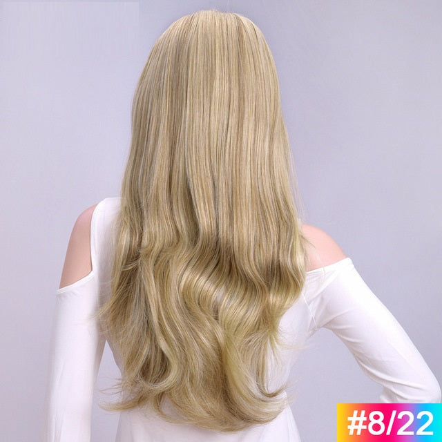 Super-Long-Wavy-3/4-Women-Half-Wig-Synthetic-Hair-Wigs-with-Clips-in-Hair-Extensions