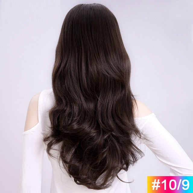 Natural-Brown-Long-Wavy-3/4-Women-Half-Wig-Synthetic-Hair-Wigs