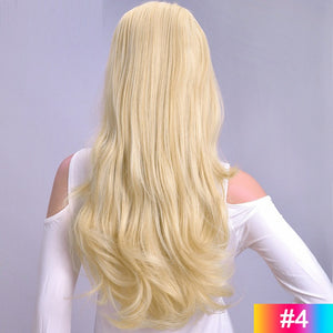 Natural-Long-Wavy-3/4-Women-Half-Wig-Synthetic-Hair-Wigs-with-Clips-in-Hair-Extensions