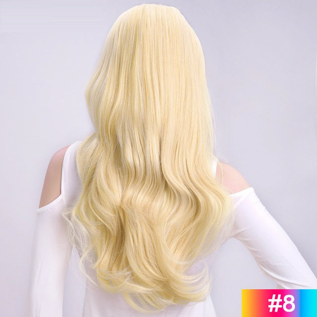 Platinum-Blonde-Long-Wavy-3/4-Women-Half-Wig-Synthetic-Hair-Wigs-with-Clips-in-Hair-Extensions