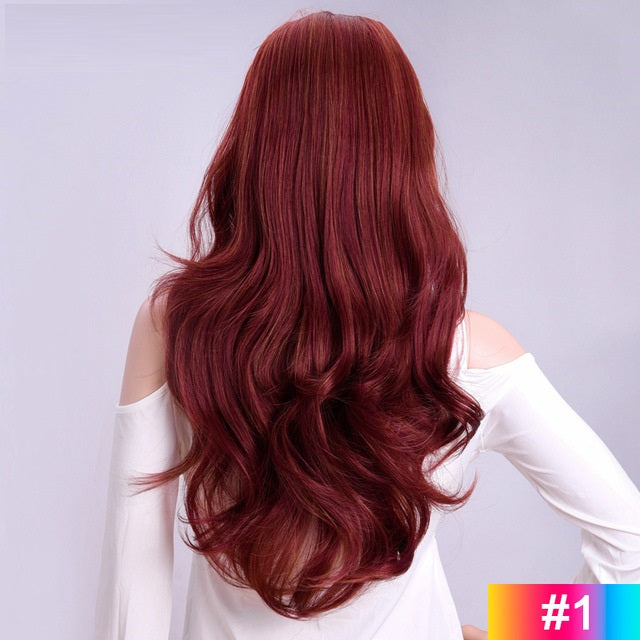 Red-Long-Wavy-3/4-Women-Half-Wig-Synthetic-Hair-Wigs-with-Clips-in-Hair-Extensions