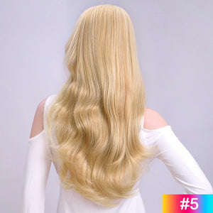 Blond-Long-Wavy-3/4-Women-Half-Wig-Synthetic-Hair-Wigs-with-Clips-in-Hair-Extensions